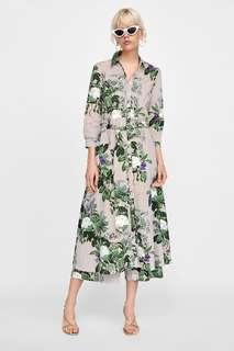 Zara stripe and floral print maxi shirt dress 復古春夏花花直條連身長裙