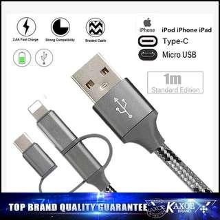🚚 3 in 1 micro usb, lightning, type c 1m usb charging cable