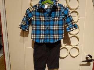 🚚 Carter's 格子襯杉和長褲6m 60-70cm 衣和褲合售共三件