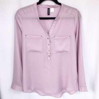 H&M V-Neck Pocket Blouse - Lilac