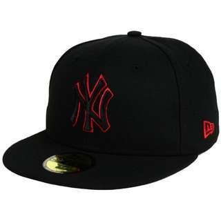 New York Yankees New Era MLB Black on Red 59FIFTY Cap