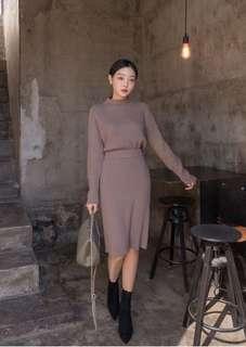 Sthsweet chuu brown taupe knitted jumper and skirt dress set co ord 毛衣中長裙深啡色灰紫色針織兩件套裝