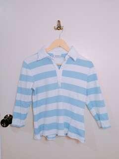 ❤️Pastel Blue Stripe Collar top