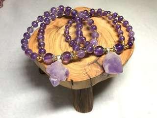 🚚 紫水晶双圈的母女或姐妹款的手串 Amethyst crystal 2rounds bracelet