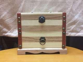 文青氣質木飾物盒 兩層連鏡
