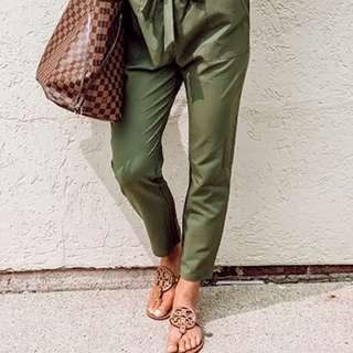 Army Green Tapered Cropped Pants