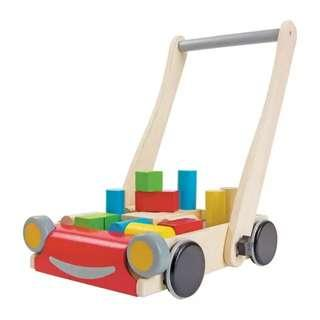 High Quality Wooden Push Cart with Blocks