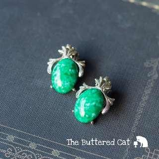 Retro chic clip-on earrings, silver tone with faux turquoise stones