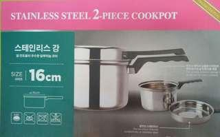 2 piece set - 16 Inch Stainless Steel Induction Cook Pot