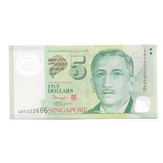222666 $5 note repeated numbers