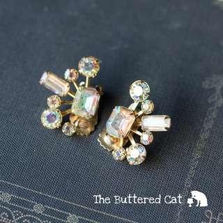 Sparkly vintage aurora borealis clip-on earrings