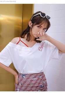 韓國露肩白色T恤