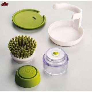 DISHWASHING SOAP DISPENSER BRUSH WITH STAND