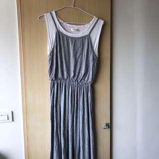 🚚 假兩件式灰色棉質長裙