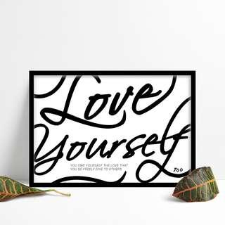 Wall Art Quote Motivational Poster 'Self love, self care'