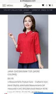 🚚 Cheongsam red blouse BN with tag from joyeus