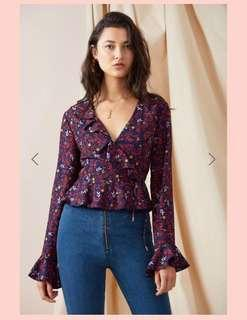 Finders Keepers long-sleeve floral wrap top XXS-XS/AU4-6