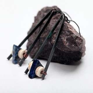 原創三角天然石歐美復古耳環 女長款