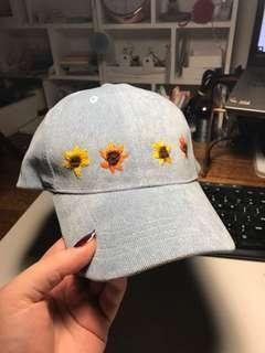 sunflower embroidered corduroy blue cap