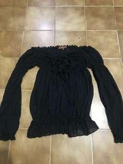 Off shoulder black chiffon lace up top