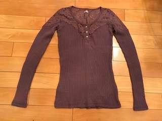 Hollister 紫色針織半lace上衣 #newbieFeb19