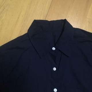 🚚 長版襯衫 長袖 藏青 深藍 下擺圓弧 無印風 棉麻