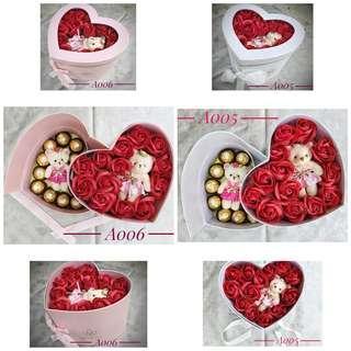 Love box with soap flower and ferrero rocher