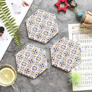 (Set of 4) Moroccan Patterned Coasters (3 designs)