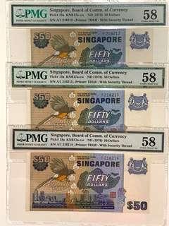 PMG A/1 Prefix Bird Series $50 (3 Runs)