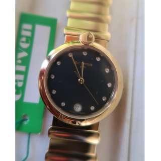 絕版正貨 收藏已久 全新卡紛 Carven Watch 男裝金鋼帶石英手錶 Quartz Watch