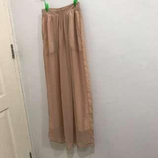 Yellow Line Long Skirt Beige