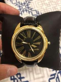Pierre Cardin Women Golden Gem Leather Watch