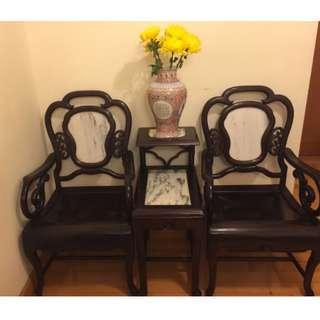 百年古董酸枝理石套椅