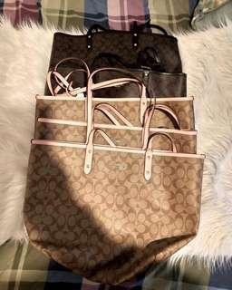 😘 限時特惠 保證正品 COACH 托特包 媽咪袋 購物袋 可雙面使用