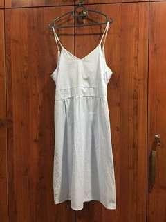 Backless Self-Tie Blue Striped Summer Dress
