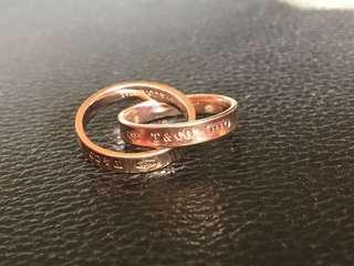 🚚 Tiffany interlock rings rose gold size5