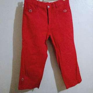 Red Stretchable 3/4 pants