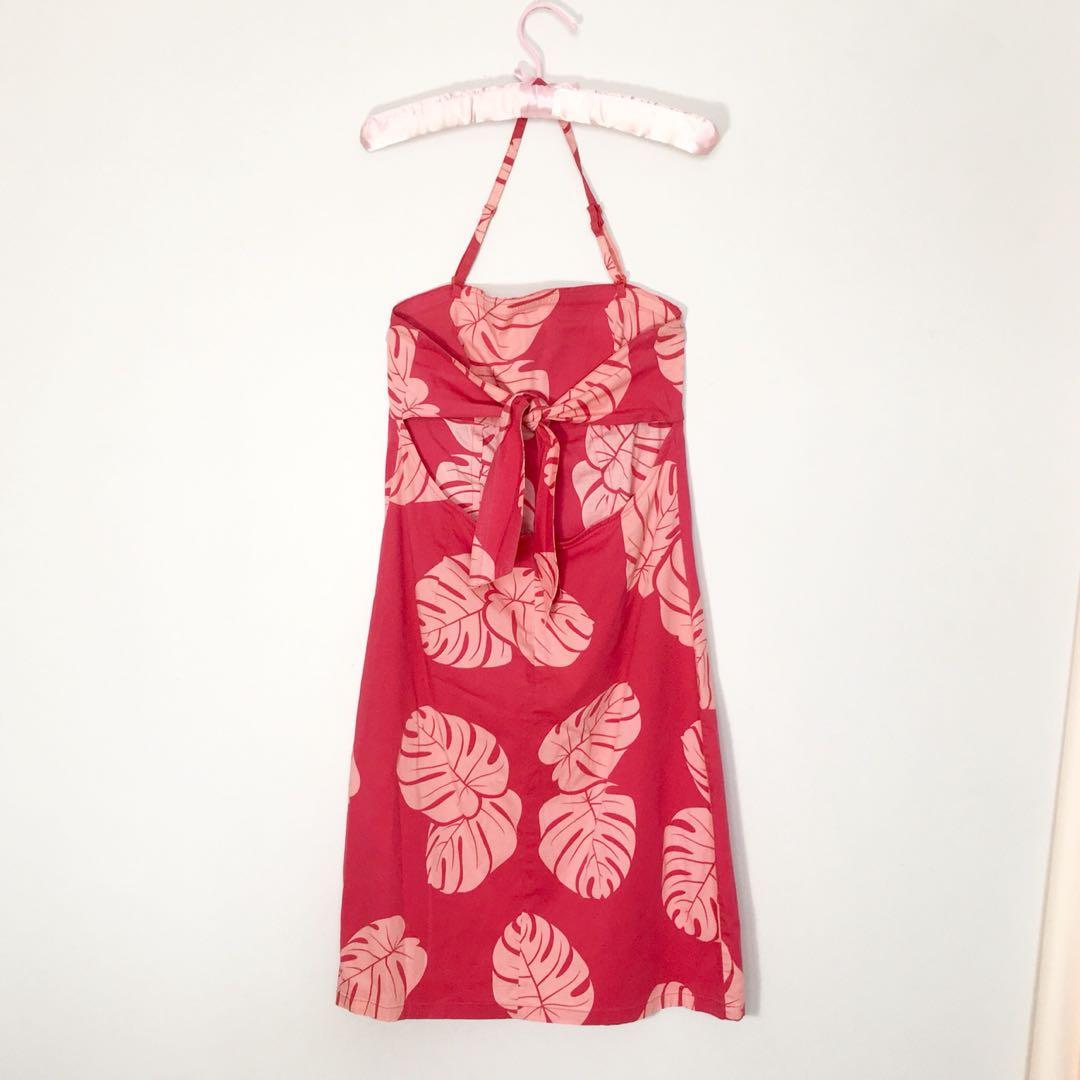 90's / 00's palm print halter neck dress with back tie