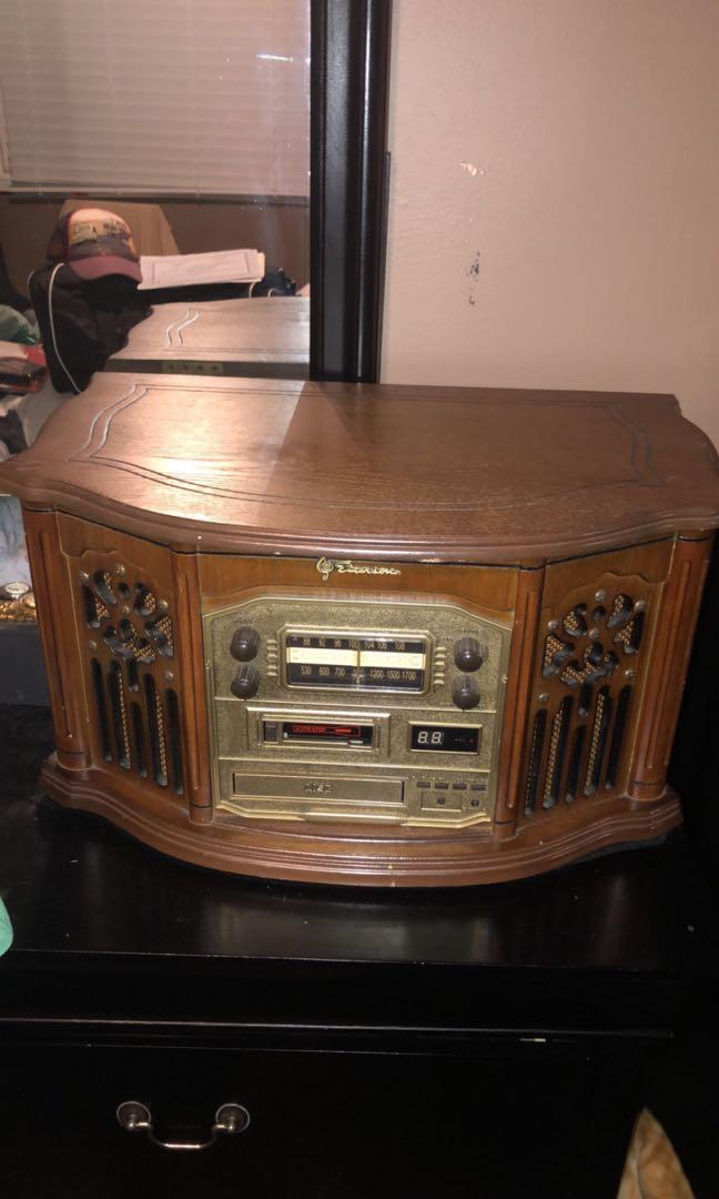 ANTIQUE VINTAGE EMERSON WOOD TURNTABLE CASSETTE CD RECORD PLAYER AM/FM STEREO