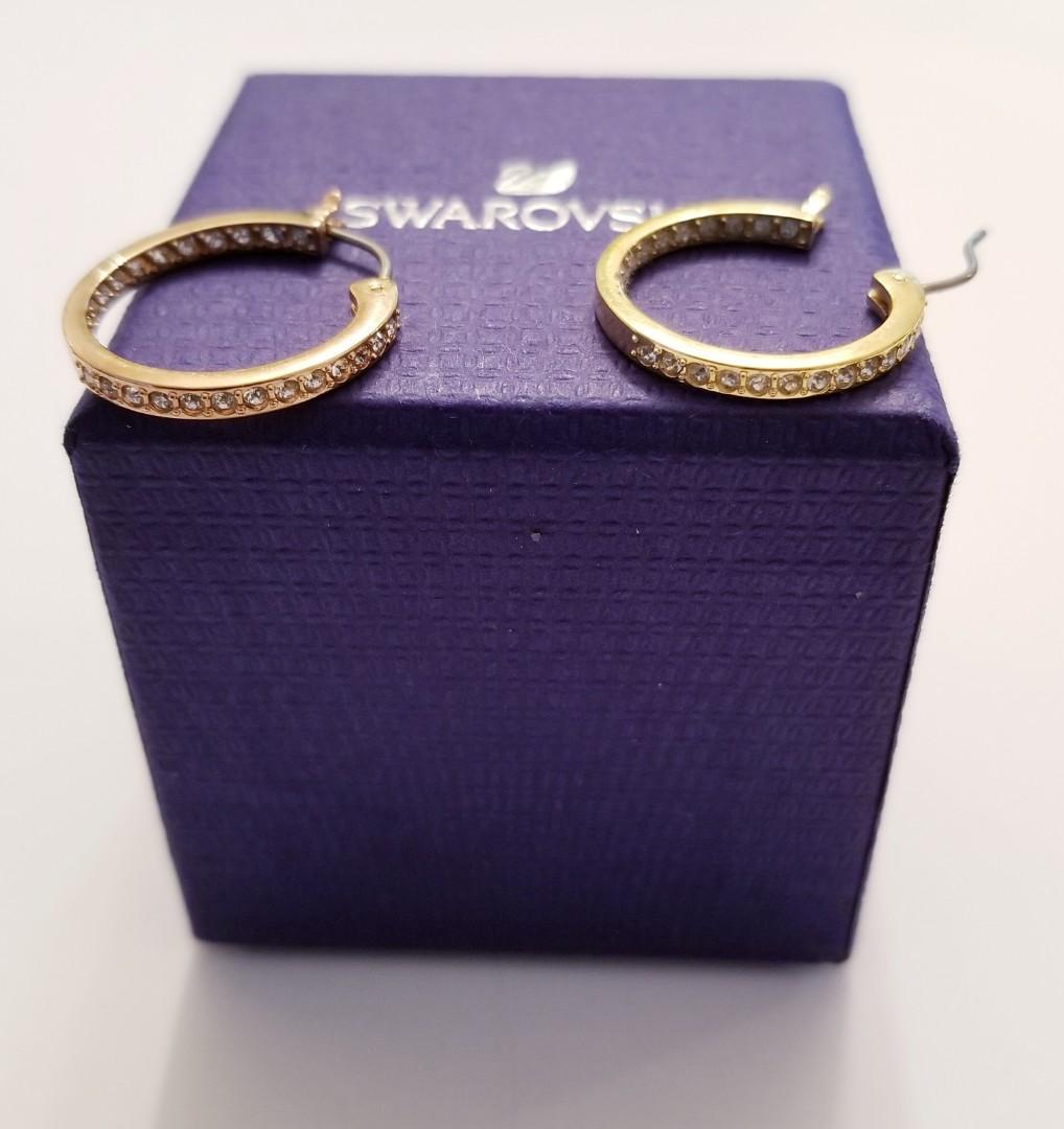 Authentic Swarovski Hoop Earrings gold toned