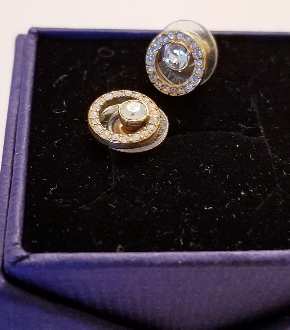 Authentic Swarovski Push-on Earrings Gold toned
