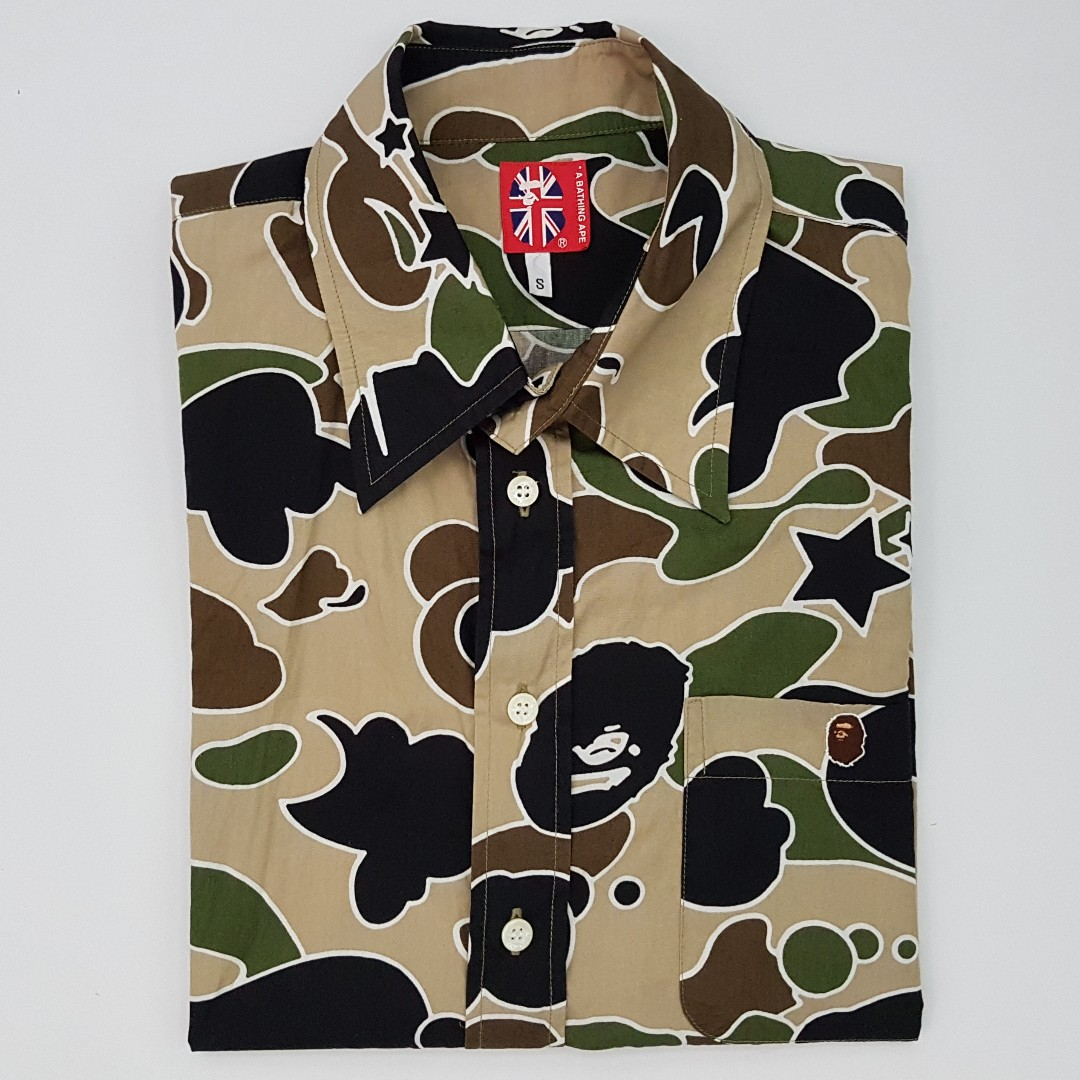 00d2242d BAPE Small A Bathing Ape Graphic Camo Button Down Shirt, Men's Fashion,  Clothes, Tops on Carousell