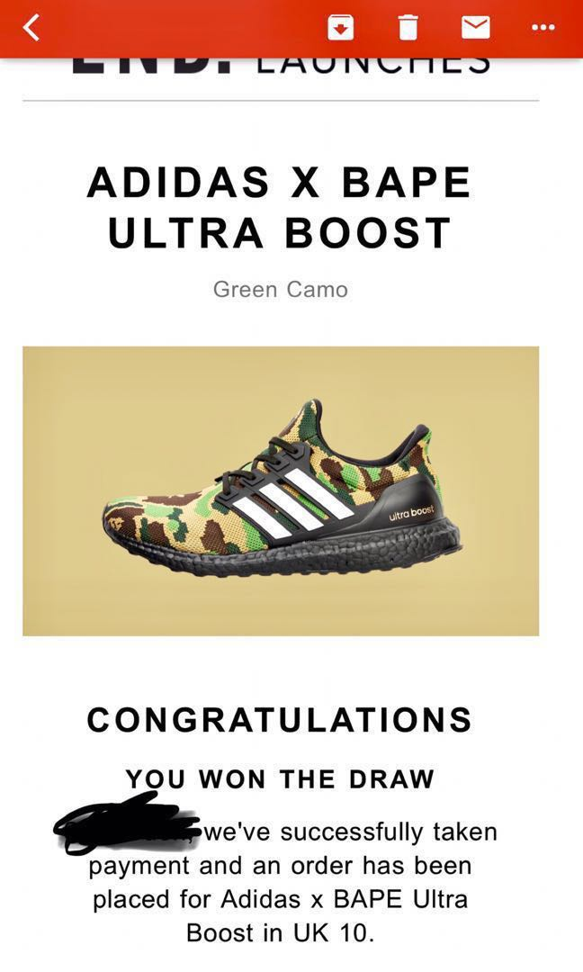 e770780a BAPE x Adidas ultraboost in green camo Sz US 10.5 dead stock, Men's ...