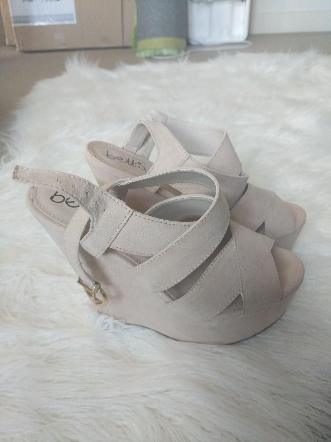 Betts for Her nude suede wedges