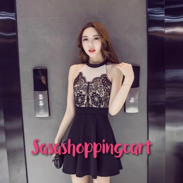 (Black) Nightclub ladies summer 2018 slimcut black lace skirt