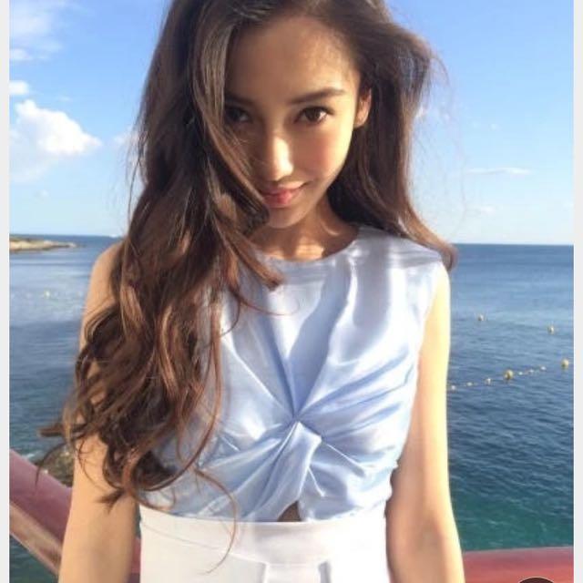 (Blue) Korean version of the high waist was thin skirt