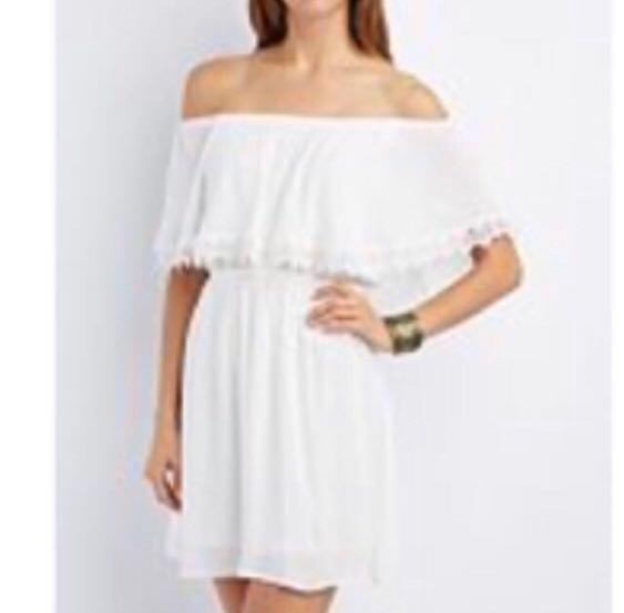 a92bbd75850 Bn Charlotte Russe clearance! White Off Shoulder Dress crochet lace plus  size