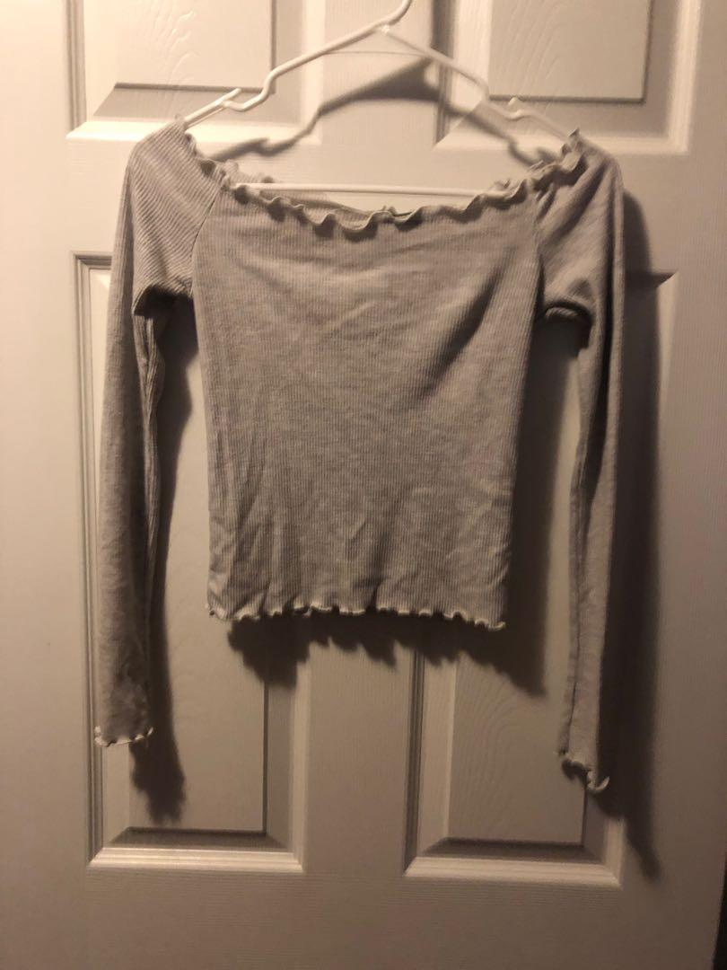 brandy melville off the shoulder tight grey crop top