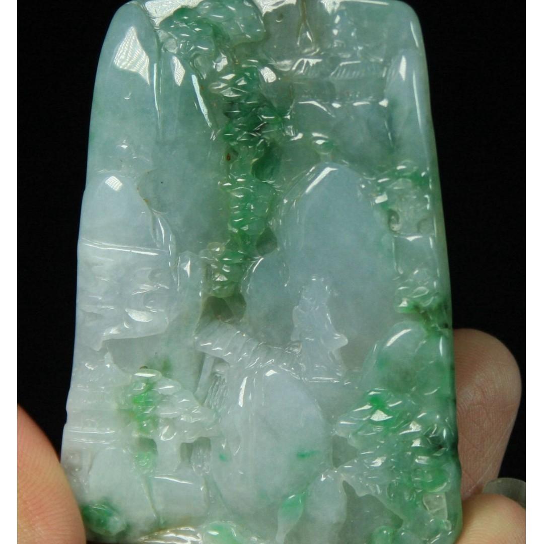 Certified Green 100% Natural A Jade jadeite Pendant landscape 山水 4838-0300
