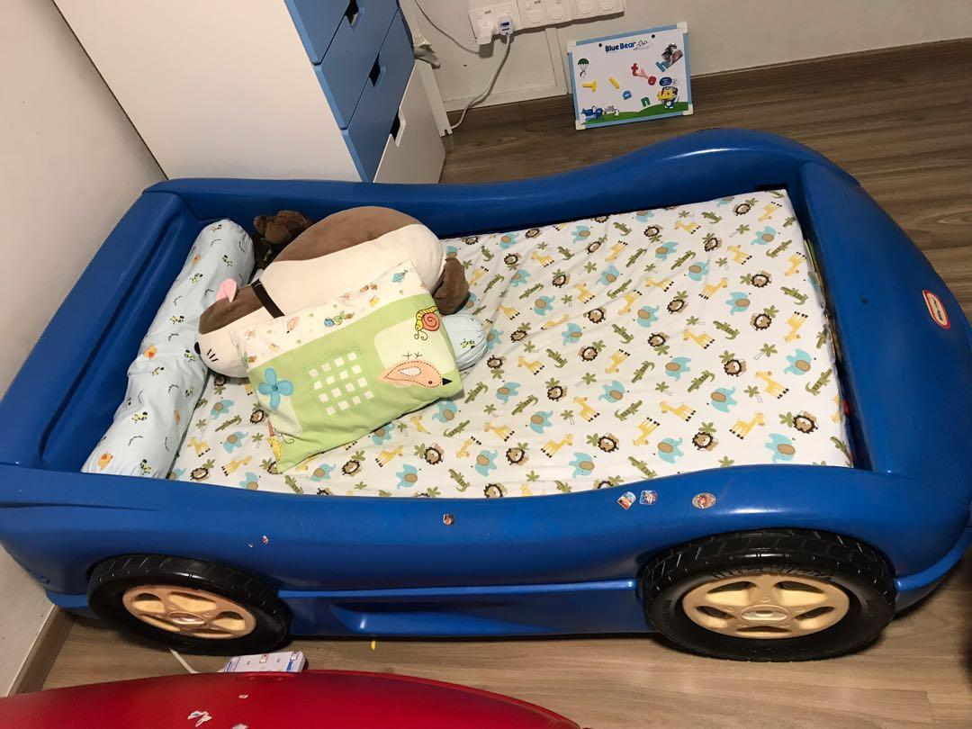 Children Bed Little Tikes Blue Small Car Bed Furniture Beds Mattresses On Carousell